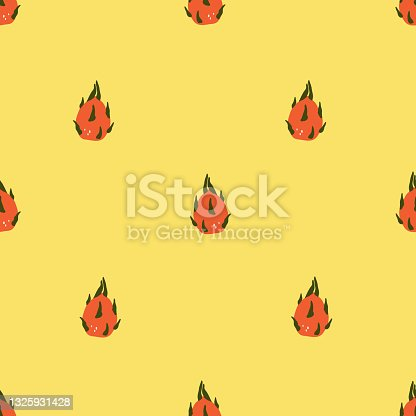 Seamless pattern with cute hand drawn dragonfruit. Cozy hygge scandinavian style template for fabric, packaging, kids t shirt design. Vector illustration in flat cartoon style