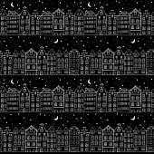 Seamless pattern with cute houses at night with starry sky. Vector illustration in black and white colors
