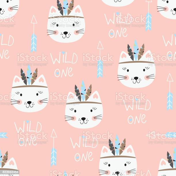 Seamless pattern with cute indian cats vector id833663454?b=1&k=6&m=833663454&s=612x612&h=1gp4b0krj08emphvr wszawpczxucjjaqafgb1 n1yg=