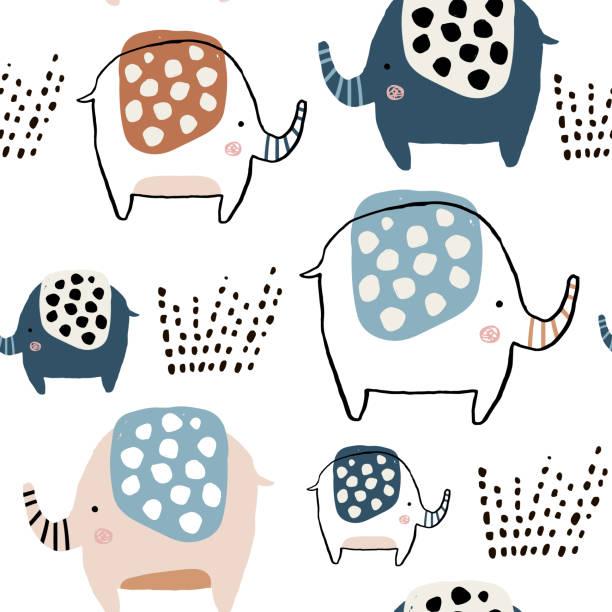 nahtlose muster mit niedlichen tinte gezeichnet elefanten. kreative kindisch textur. ideal für stoff, textil vektor-illustration - elefantenkunst stock-grafiken, -clipart, -cartoons und -symbole