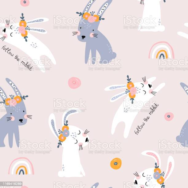Seamless pattern with cute jumping rabbits creative scandinavian for vector id1169416289?b=1&k=6&m=1169416289&s=612x612&h=14mpavrujda6weyrpzqbrayfb8do14dcekctwmjgu40=