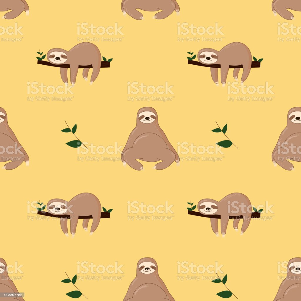 Seamless pattern with cute jungle sloths on green background, vector art illustration