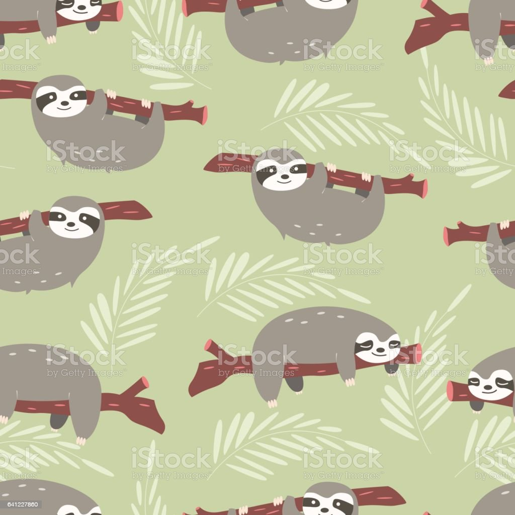Seamless pattern with cute jungle sloths on green background, vector illustration vector art illustration