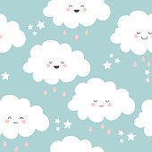 Seamless pattern with cute kawaii clouds, stars, raindrops . Vector illustration.