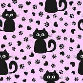 Seamless pattern with cute kittens and silhouettes of hearts and cat's paws. Funny vector illustration for children.