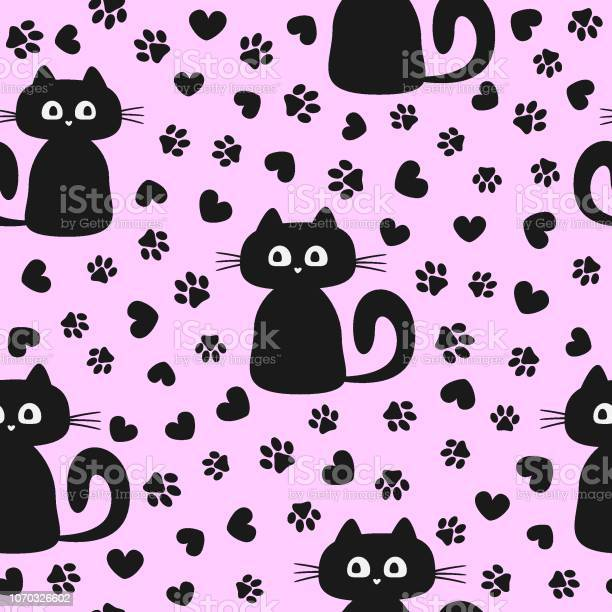 Seamless pattern with cute kittens and silhouettes of hearts and cats vector id1070326602?b=1&k=6&m=1070326602&s=612x612&h=tpta7ybwjsn0wax4otyibnhait dwklobvbscdras1o=