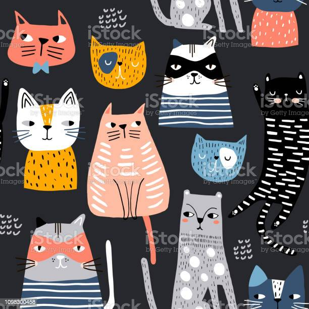Seamless pattern with cute kittens in diferent style creative great vector id1098300458?b=1&k=6&m=1098300458&s=612x612&h=oyzcuyxvdzft2se5dnusrp1 8xsyhce0m nwhcl0j i=