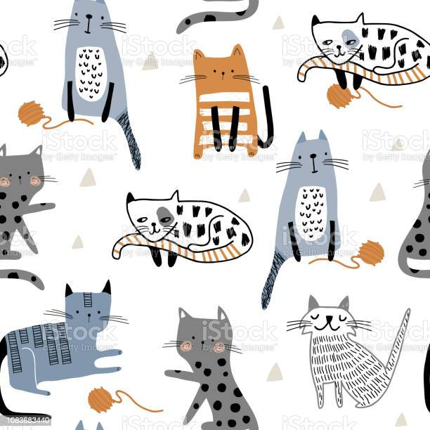 Seamless pattern with cute kittens in diferent style playing with of vector id1083683440?b=1&k=6&m=1083683440&s=612x612&h=vyo ah 1dprvqxycqojk0f9rpjx97f o4baoxhwyyd4=