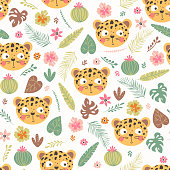 Seamless pattern with head of a leopard and tropical plants. Children funny background in vector.