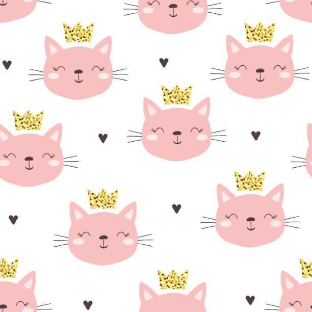 猫ちゃんとのシームレスなパターン。ベクトル イラスト。 - 子猫点のイラスト素材/クリップアート素材/マンガ素材/アイコン素材