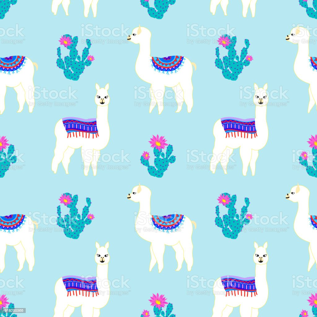 Seamless pattern with cute llama, castus and flower. Vector abstract background for kid. Hand drawn lama design with sweet cacti. - illustrazione arte vettoriale