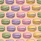 Vector seamless pattern with cute colorful macaroons cookies.Hand drawn macaroon design Perfect for bakery shop advertising, invitation, valentine card.