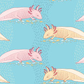 Seamless pattern with cute Mexican axolotl