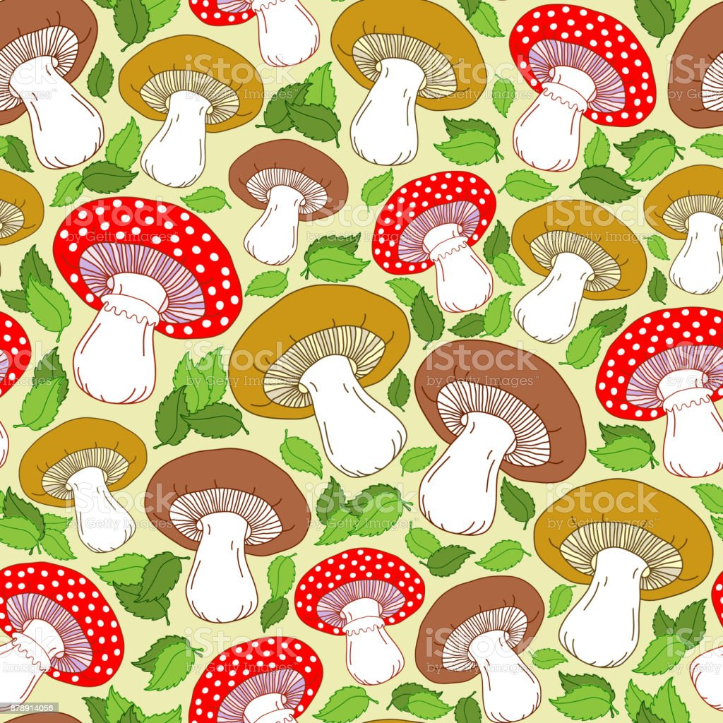 Seamless pattern with cute mushrooms, green leaves and other elements. Yellow background. Colorful autumn vector pattern. vector art illustration