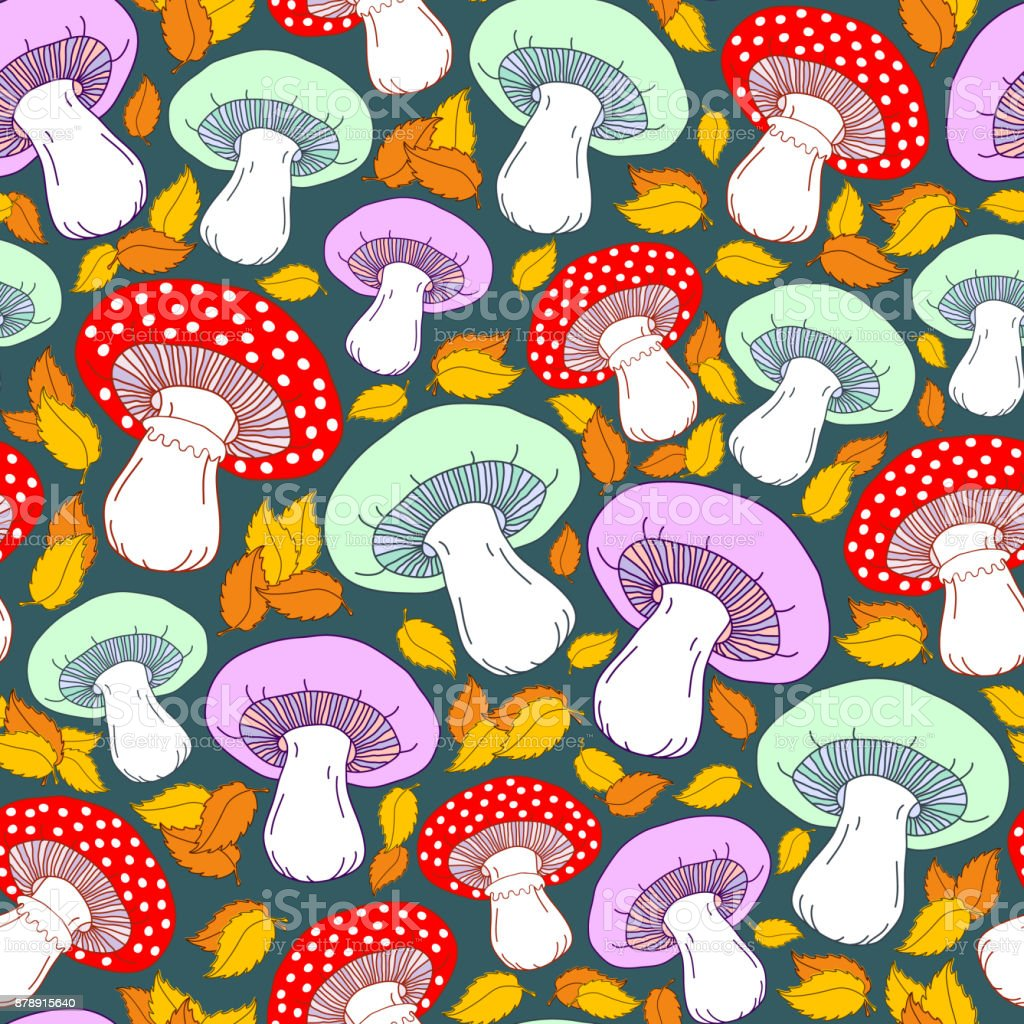 Seamless pattern with cute mushrooms, yellow leaves and other elements. Green background. Colorful autumn vector pattern. vector art illustration
