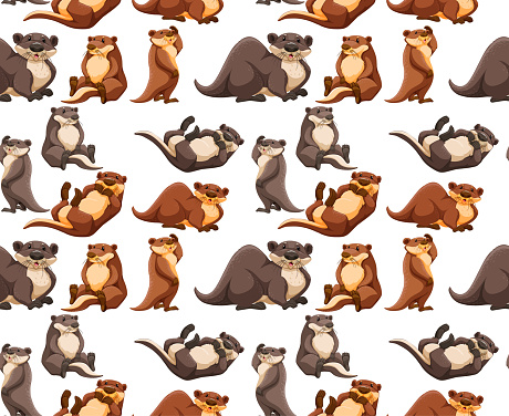 Seamless pattern with cute otter in different poses on white background