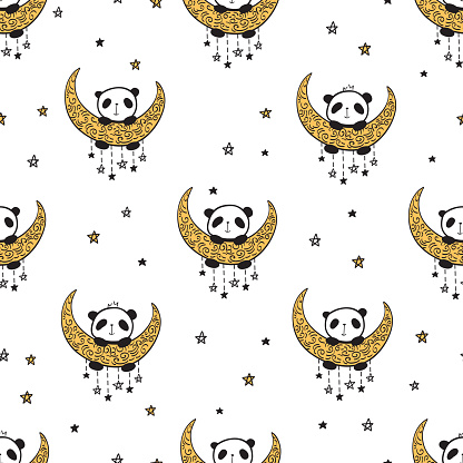 Seamless pattern with cute pandas on the moon and stars