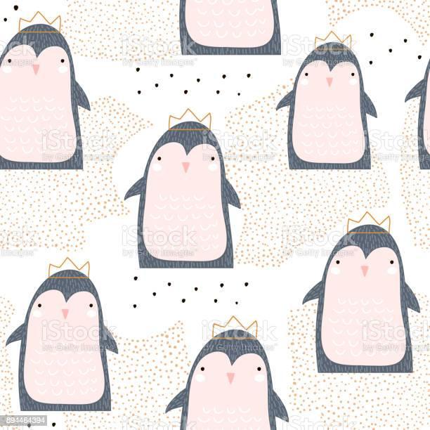 Seamless pattern with cute penguin princess in crown and hand drawn vector id894464394?b=1&k=6&m=894464394&s=612x612&h=avesejlj8k mypuskqfm5pvkjapq1uppprw8xnprjew=