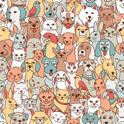 Seamless pattern with cute pets
