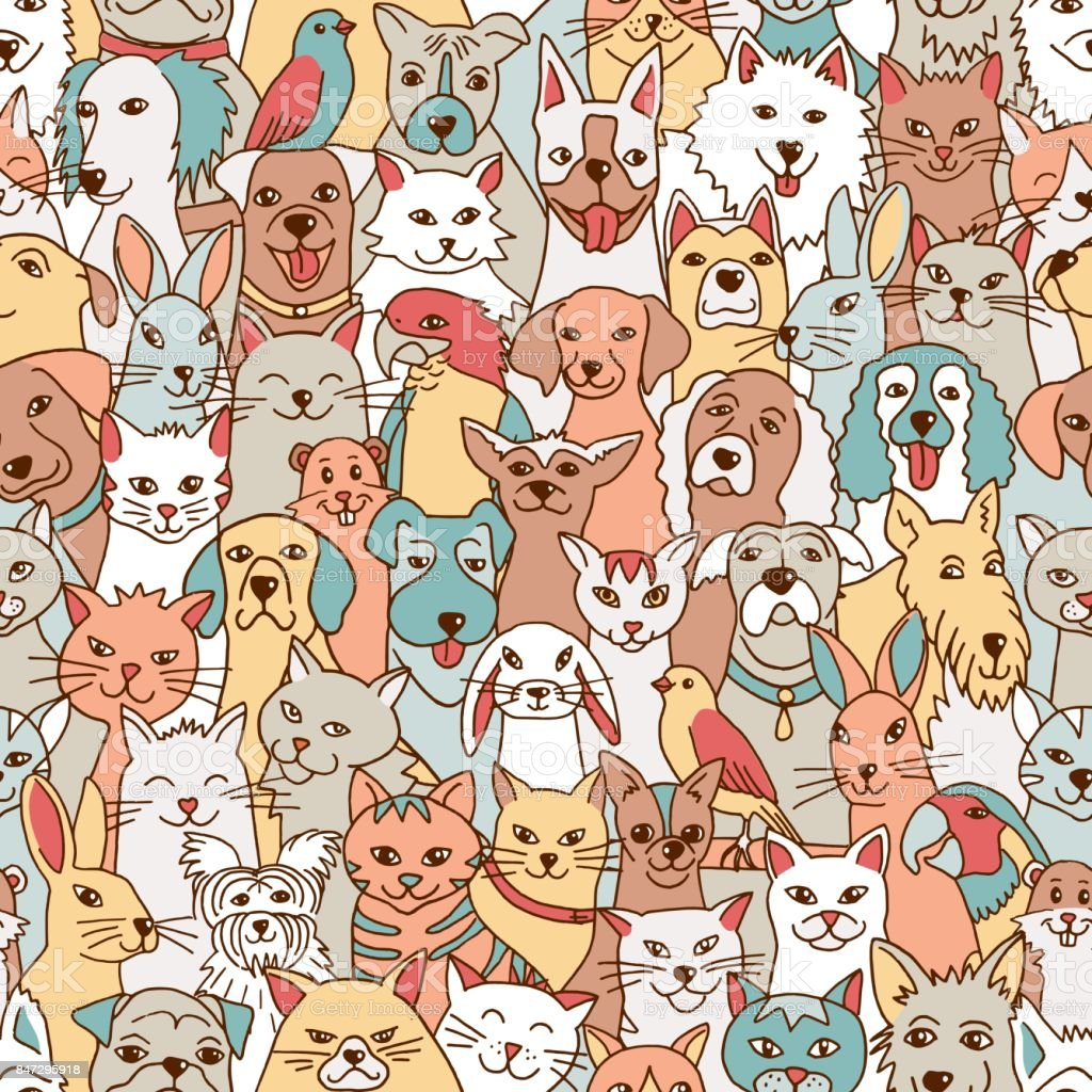 Seamless pattern with cute pets vector art illustration