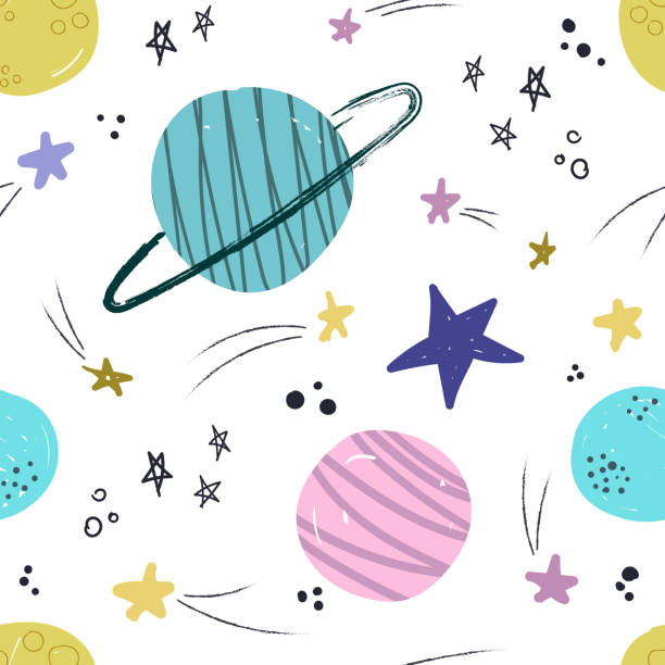 Seamless pattern with cute planets and stars. vector art illustration