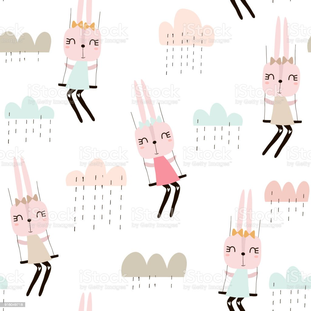 Seamless pattern with cute rabbit girls . Creative childish background. Perfect for kids apparel,fabric, textile, nursery decoration,wrapping paper.Vector Illustration vector art illustration