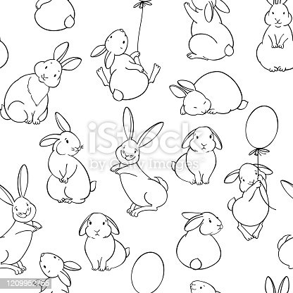 istock Seamless pattern with cute rabbits. Cartoon vector illustration. Animal background. 1209952755