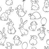 Cartoon animal background with cute bunnies. Vector.