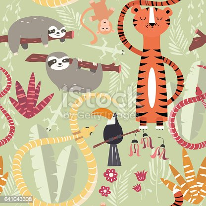 istock Seamless pattern with cute rain forest animals, tiger, snake, sloth 641043308