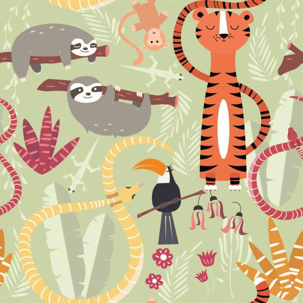 Seamless pattern with cute rain forest animals, tiger, snake, sloth Seamless pattern with cute rain forest animals, tiger, snake, sloth, vector illustration vertebrate stock illustrations