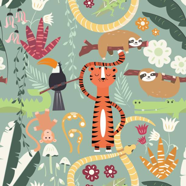 Seamless pattern with cute rain forest animals, tiger, snake, sloth vector art illustration
