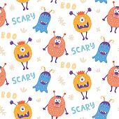 Seamless pattern with cute scary Halloween monsters