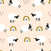 istock seamless pattern with cute sheeps on pink 1302095767