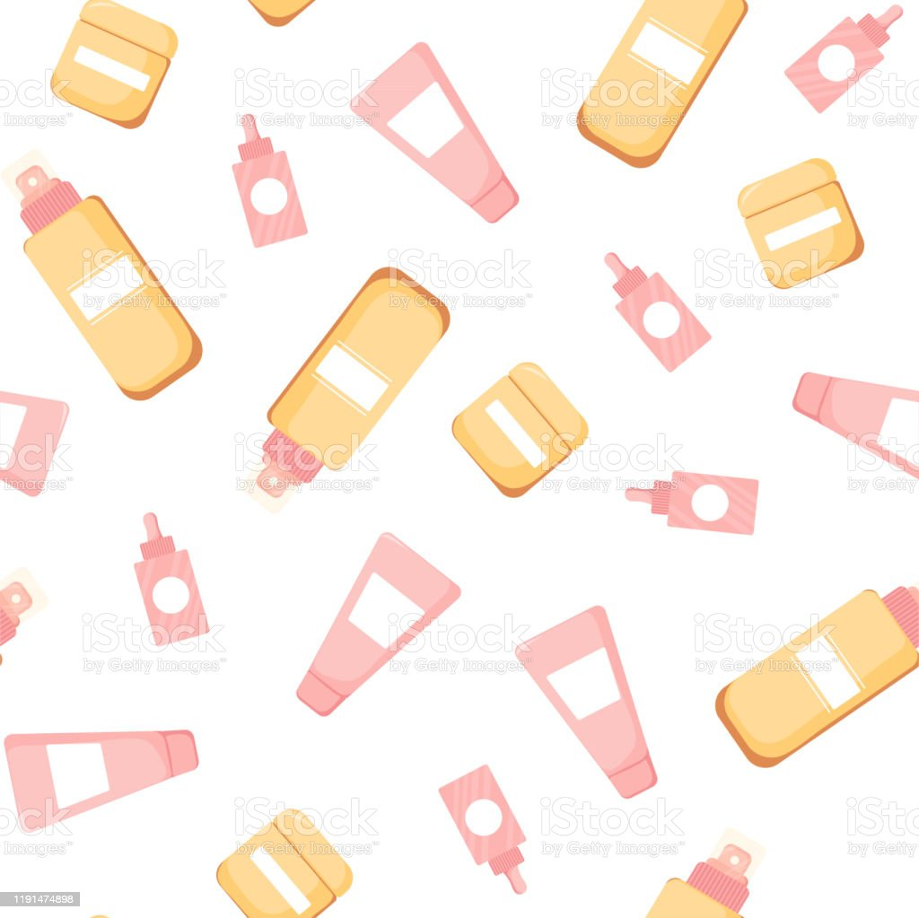 Seamless Pattern With Cute Skincare Stock Illustration Download Image Now Istock
