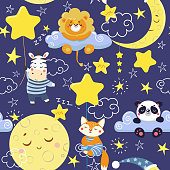 Seamless pattern with cute sleeping animals and moons, stars. Vector illustration