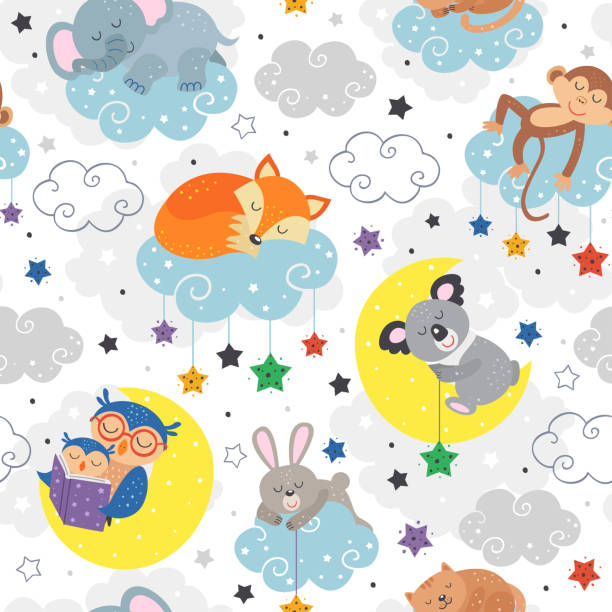 seamless pattern with cute sleeping animals - bedtime story stock illustrations