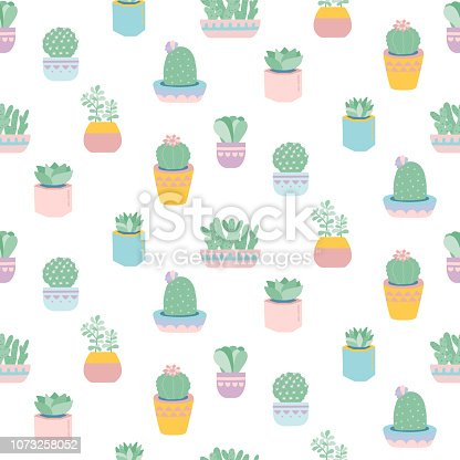 Seamless pattern with cute succulents in pots. Potted house plant. Vector print in pastel colors.