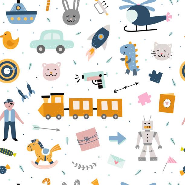 stockillustraties, clipart, cartoons en iconen met naadloos patroon met leuk speelgoed voor kinderen. vector achtergrond met kids elementen en illustraties - baby toy