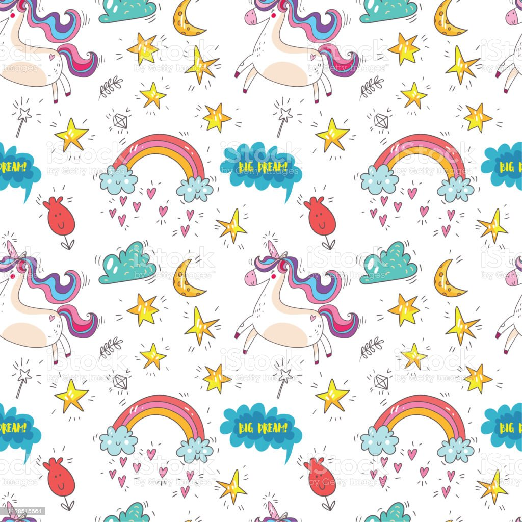 Seamless Pattern With Cute Unicorns Cloudsrainbow And Stars