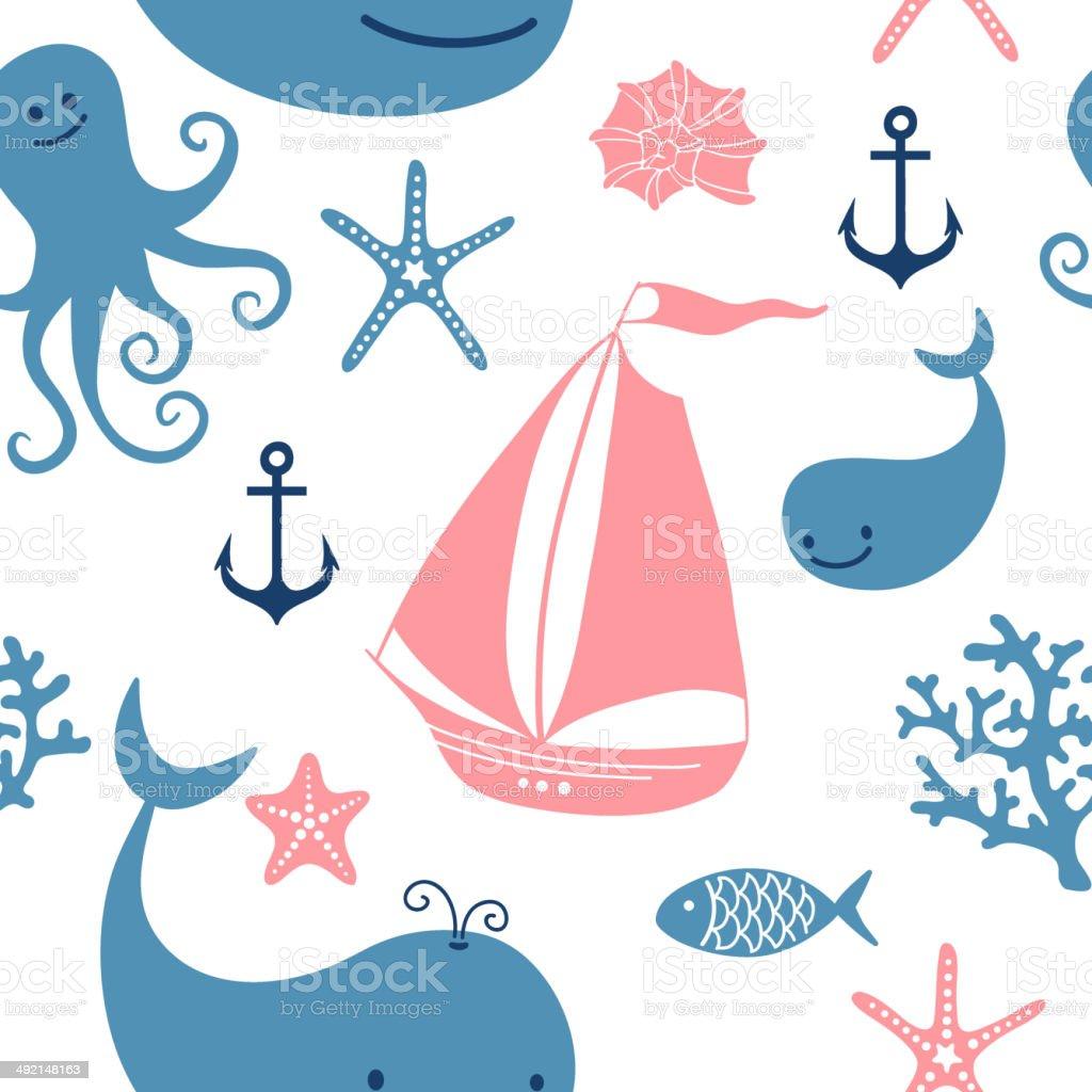 Ilustración de Patrón Sin Costuras Con Linda Ballenas La Navegación ...