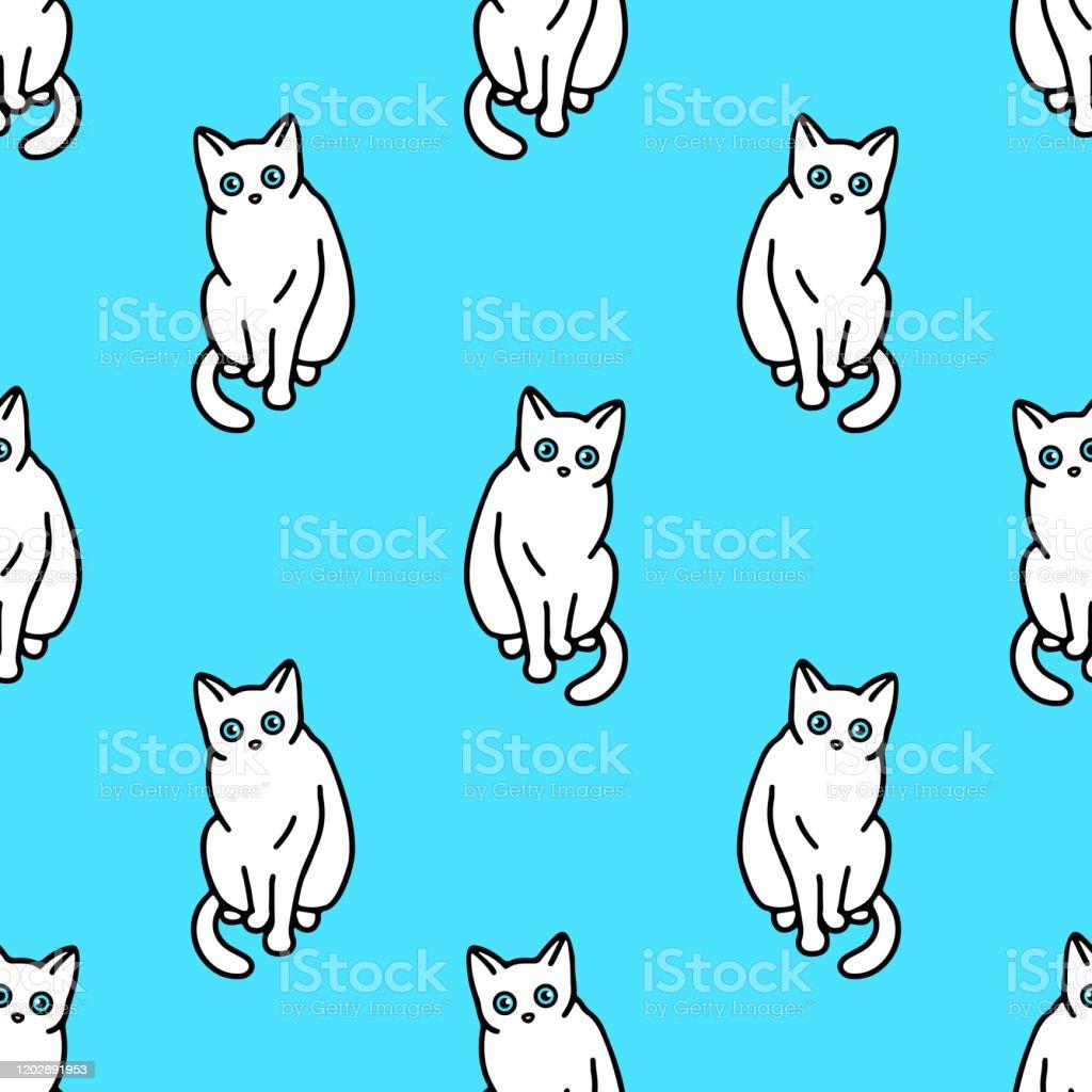 かわいい白猫とシームレスなパターン壁紙文房具布ラップウェブページの背景ベクトルイラストのためのテクスチャ いたずら書きのベクターアート素材や画像を多数ご用意 Istock