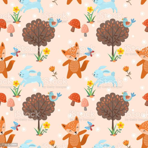 Seamless pattern with cute wolf and rabbit in forest vector id1164870995?b=1&k=6&m=1164870995&s=612x612&h=2vxxw8xbepyfx9fjh5xmkxqqpstdg1lhadod70qvq68=