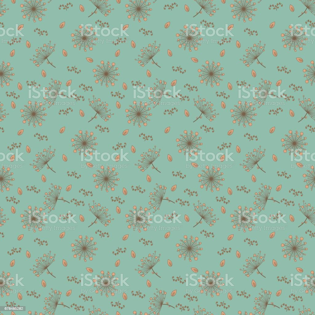 Seamless pattern with dandelions in light orange and brown color on gentle emerald background. Floral seamless background for dress, manufacturing, wallpapers, prints, gift wrap and scrapbook. royalty-free seamless pattern with dandelions in light orange and brown color on gentle emerald background floral seamless background for dress manufacturing wallpapers prints gift wrap and scrapbook stock vector art & more images of abstract