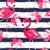 Seamless pattern with dark blue grunge stripes and pink flamingo. Pink flamingo vector background design for fabric and decor.