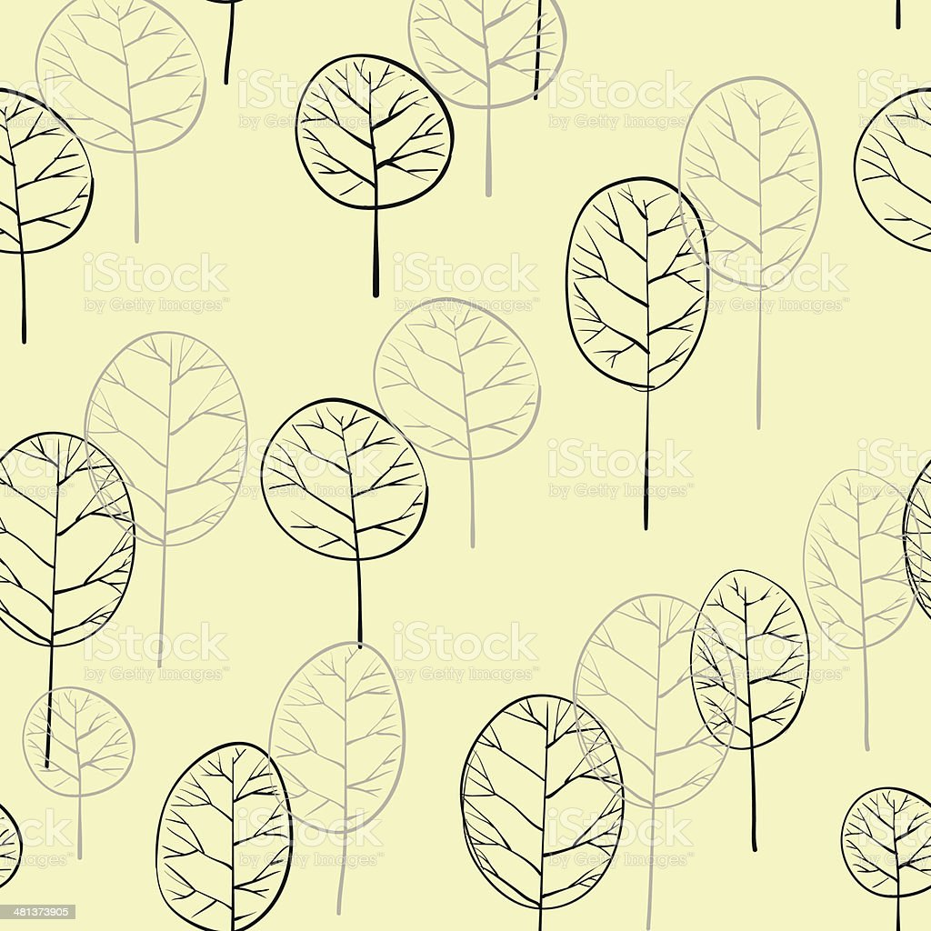 seamless pattern with deciduous trees vector art illustration