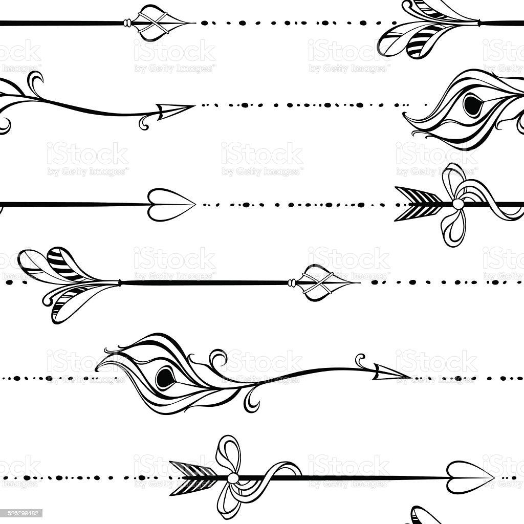 Patrón Continuo Con Flechas Decorativos Blanco Y Negro