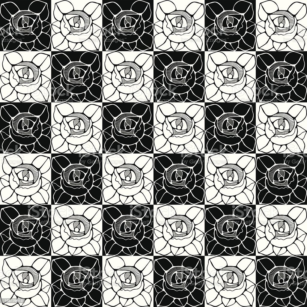 Seamless Pattern With Decorative Art Nouveau Roses Flowers Stock