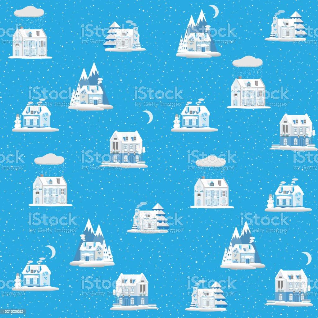 Motif sans couture de maisons colorées décoratives en hiver. Noël motif sans couture de maisons colorées décoratives en hiver noël – cliparts vectoriels et plus d'images de abstrait libre de droits