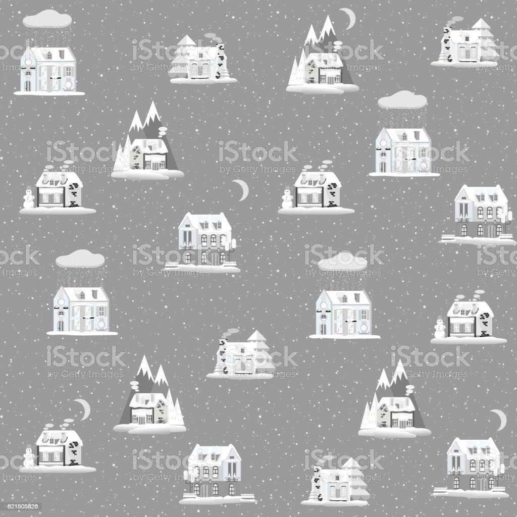 Motivo decorativo senza soluzione di continuità con case colorate in inverno tempo. Di Natale motivo decorativo senza soluzione di continuità con case colorate in inverno tempo di natale - immagini vettoriali stock e altre immagini di affari finanza e industria royalty-free
