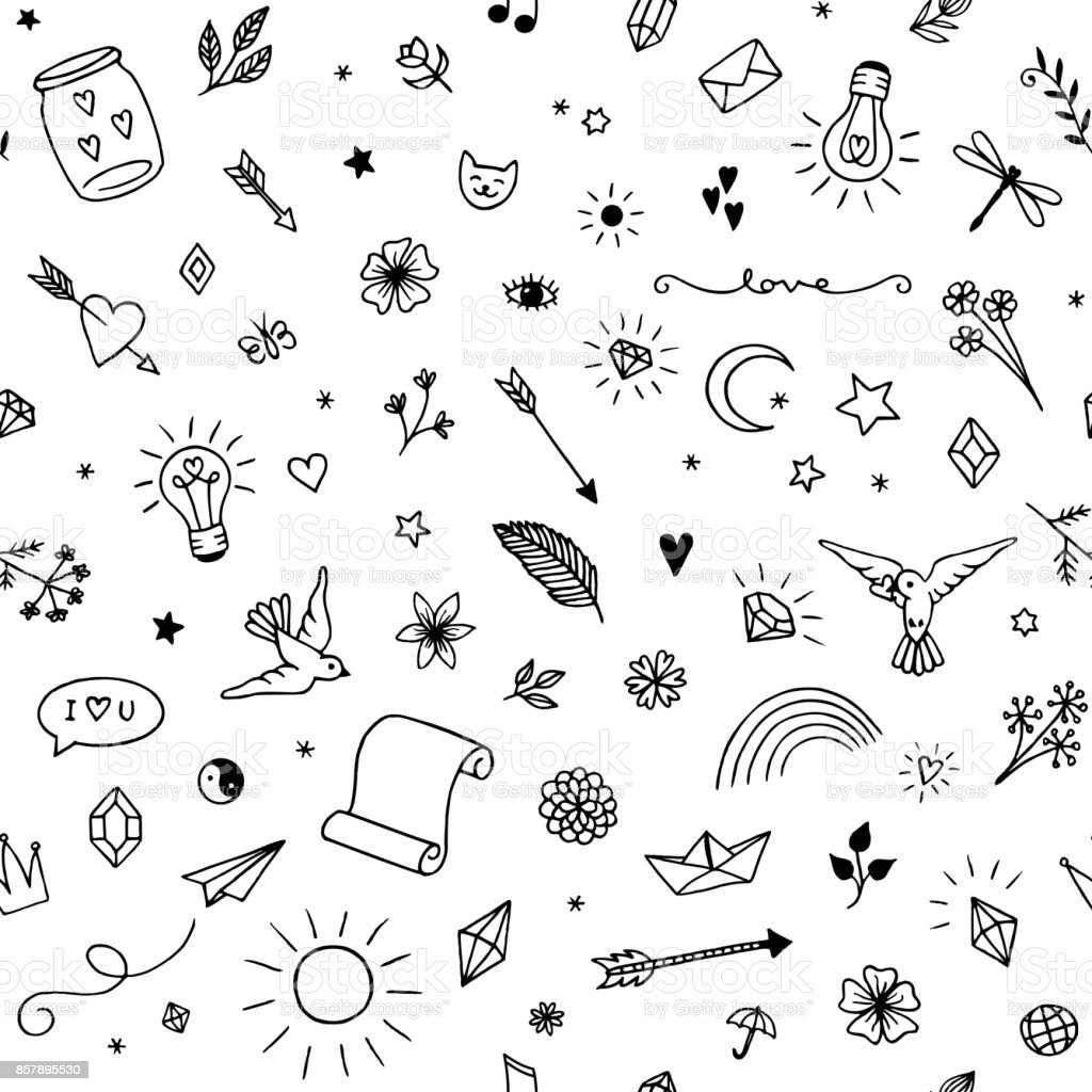 Seamless pattern with decorative elements vector art illustration